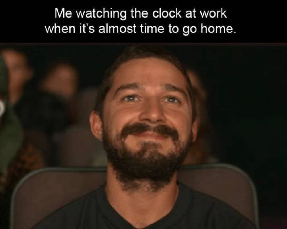 watching the clock at work